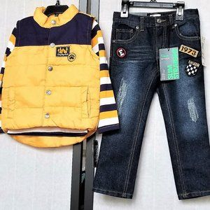 3T Epic Threads Boys 3Pc Jeans Top Puffer Vest NWT
